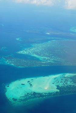 Wakatobi reef atoll, viewed from above. www.sunnyindonesia.com.