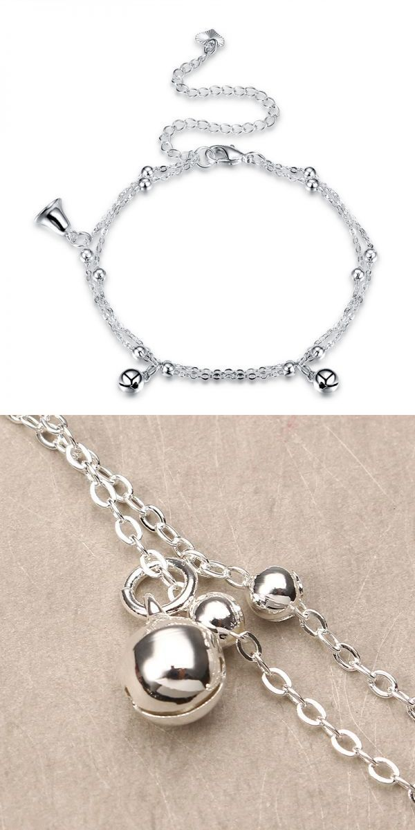 Women jewelry silver plated anklet bell pendant metal foot