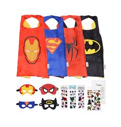 BESTSELLER: Number 1 bestseller in Boys Costumes, Girls Costumes and Role Play and Dress up. Thousands of kids love and use our costumes daily. PERFECT PRESENT: A variety of superhero costumes for kids - Batman, Superman, Ironman and Spiderman. FOR ALL AGES: Superhero capes and masks are adjustable- one size fits most. BONUS ITEMS: 3 sheets of superhero stickers and 1 sheet of superhero tattoos are included.