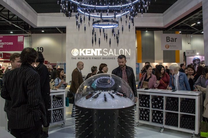 Our chandelier made from 100's of Kent Salon brush handles!