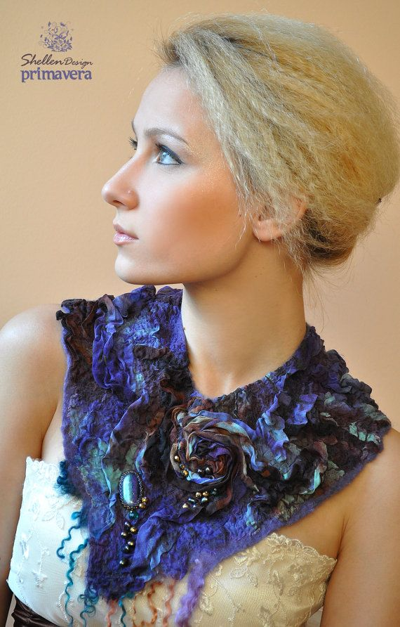 Hand+felted+nuno+Necklace+collar+Purple+Brown++Druzy+by+ShellenD,+$75.00
