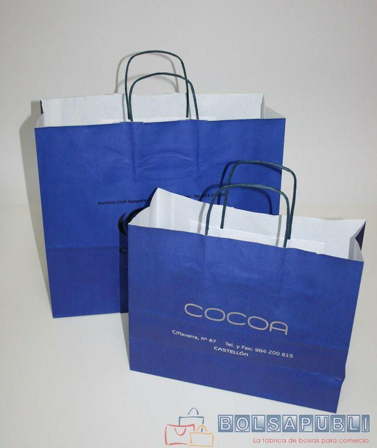 Bolsapubli - Bolsas de asa rizada en color azul o negro, precios muy asequibles.