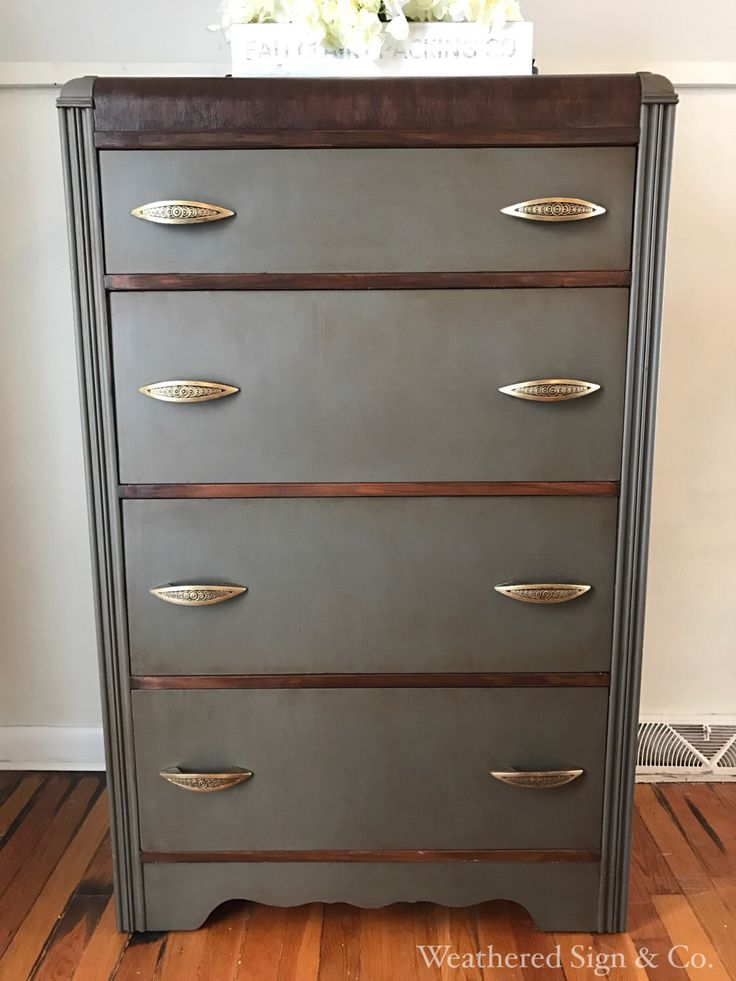 Handsome refinished Grey Art Deco waterfall dresser. by TheWeatheredSign on Etsy https://www.etsy.com/listing/491110512/handsome-refinished-grey-art-deco