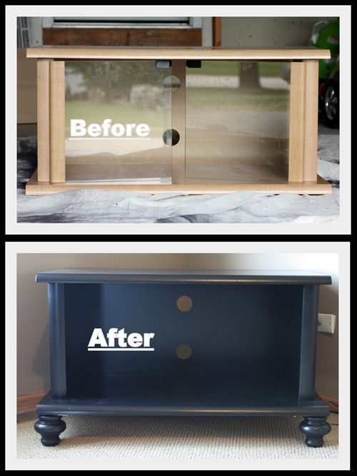 DIY: Reworking a TV stand - I've got one just like this. The new version looks so much better.