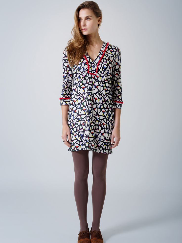 All day tunic dress / beautiful partridge print