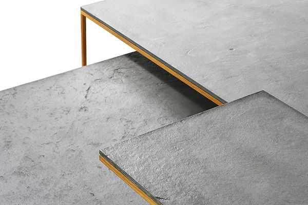 AIRWOOD SQUARE (concrete coffee tables)  designed for Gravelli.com by Tomáš Vacek (studiovacek.cz)  Unique combination of concrete, wood and metal. Tables that you can rearrange every day according to your mood. Concrete desk (smooth concrete or natural slate) has only 7mm thick edge. Metal structure is covered with wood veneer (walnut oroak) and can be easily disassembled. Subtile, refined and compact solution.   buy: https://shop.gravelli.com