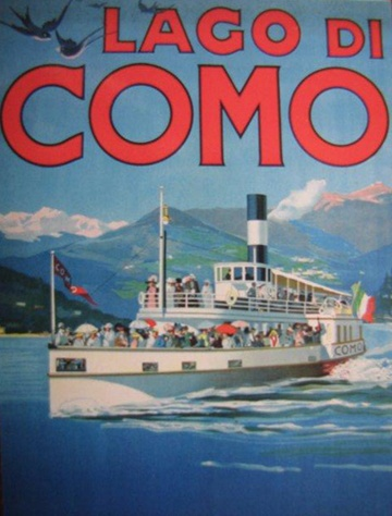 Lake Como ferry vintage poster