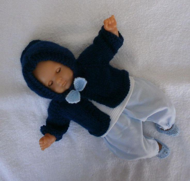 Habits poupon 30 cm - ensemble veste à capuche bleu : Jeux, jouets par mcl-poupees