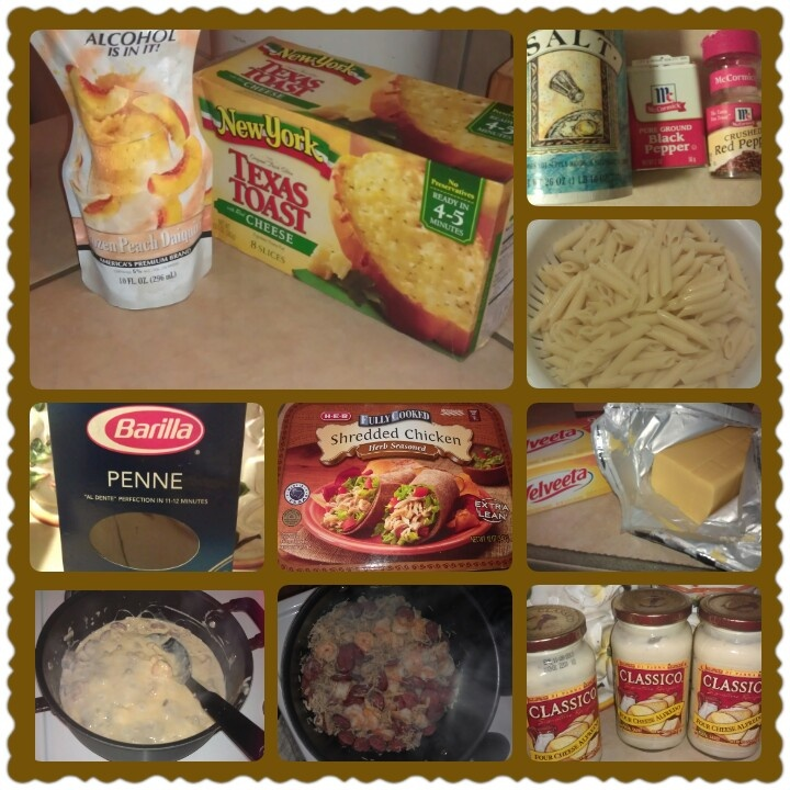 Sausage,Shrimp,& Shredded Seasoned Chicken Alfredo~ Cook shrimp & sausage  (I used Zummo Sausage), & shredded seasoned chicken (fajita meat can be substituted). Alfredo sauce:  Classico Four Cheese Alfredo Sauce (a cup of each type of meat will require at least 2 jars), 2 slices of velveeta cheese, salt, pepper, crushed red pepper, Barilla Penne pasta.
