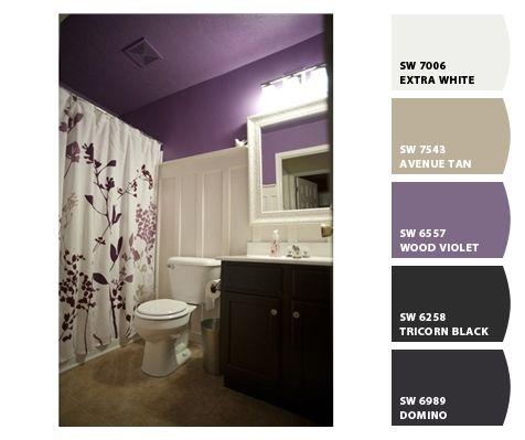Guest bathroom colors i 39 d like a paler plum but this is for Plum bathroom ideas