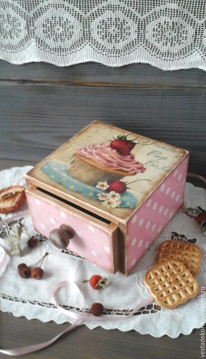 Купить Короб деревянный Сладости в винтажном стиле,в стиле ретро - короб для сладостей, для сладостей