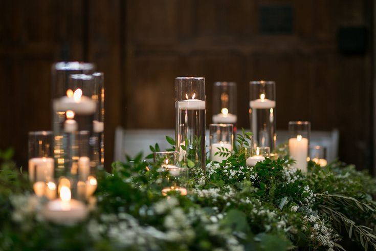 Textural Greenery Wedding Candle Wedding Decor Floating Candle