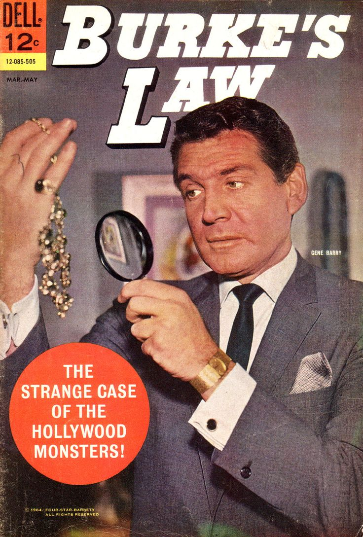 Burke's Law (1963-65, ABC) starring Gene Barry as 'Amos Burke', millionaire captain of the Los Angeles police homicide division — 1964 comic book