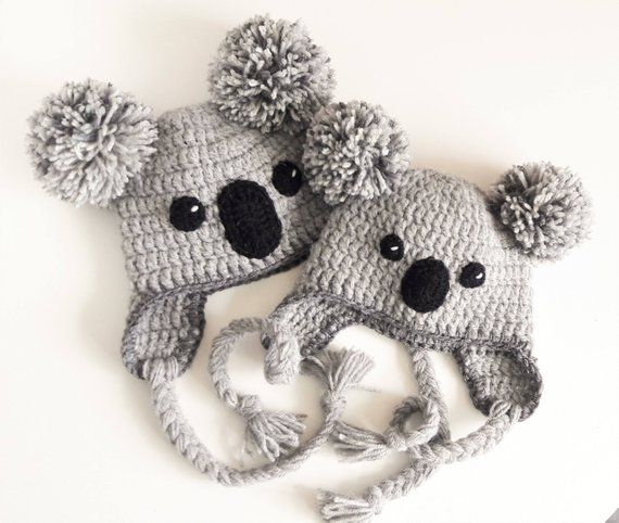 Koala Hat, Crochet Hat, Kids Outfit, Baby Hat, Women Hat, Cute Kids Hat, Earflap Hat, Pom Pom Hat, Winter Outfit, Hat with Braids, Teens