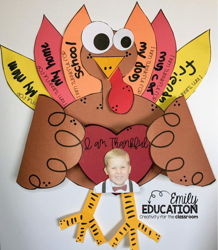 Turkey Craft for writing about what students are thankful for. Perfect for a bulletin board.