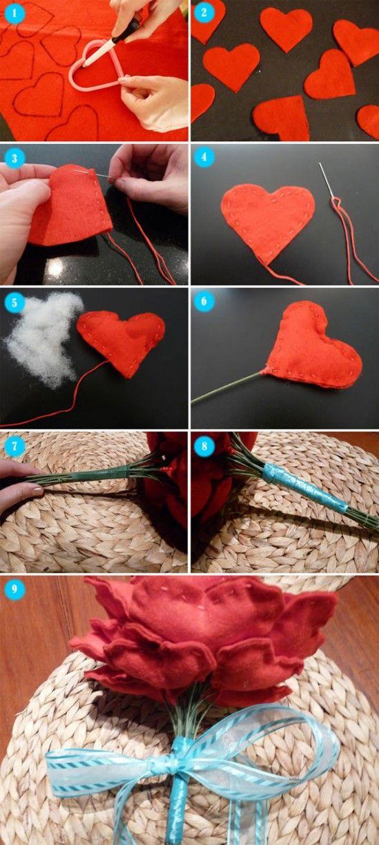 Tutorial de buquê de coração de feltro