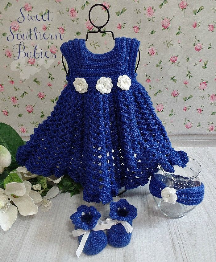 Baby Girl's Roya Blue Special Occasion Dress - Headband - Booties - Made with Bamboo Silk - Newborn to 18 Months by SweetSouthernBabies on Etsy