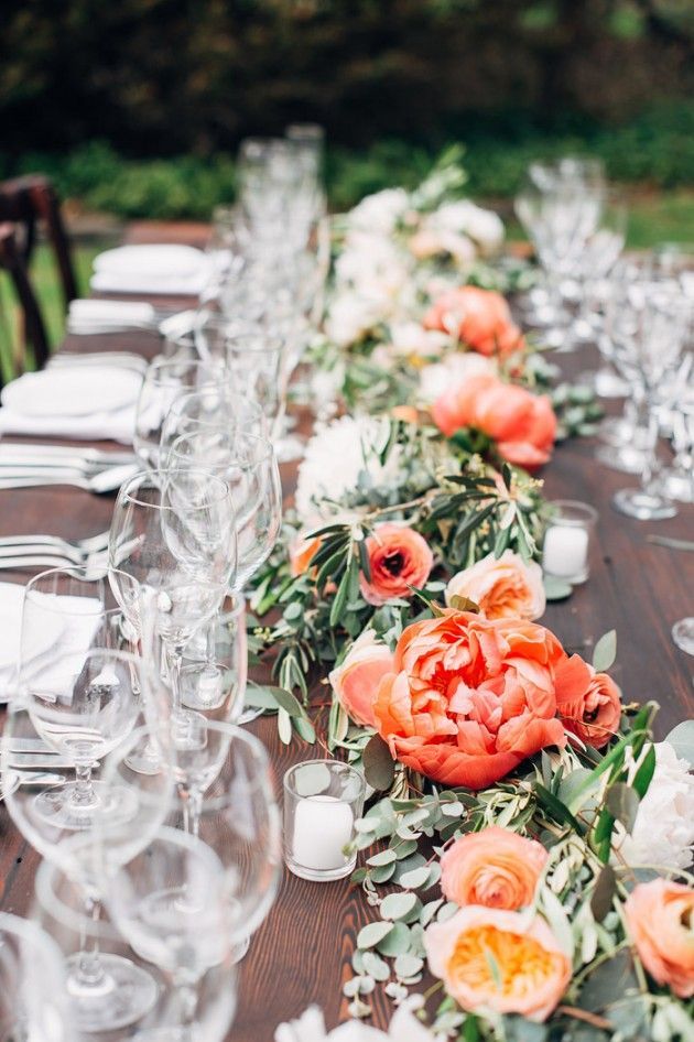 Gorgeous Table Garland Accented With Coral And Peach Flowers.
