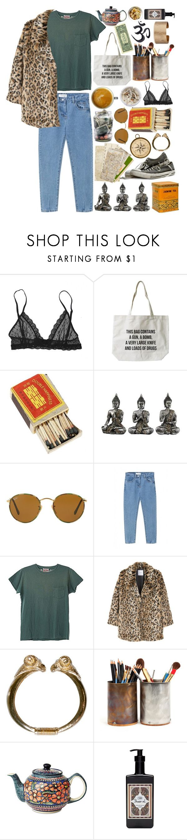 """""""#16 Wild Panther"""" by miss-chvt ❤ liked on Polyvore featuring Eberjey, Ash, Ray-Ban, WithChic, Levi's, MANGO, Polish Pottery and Panacea"""