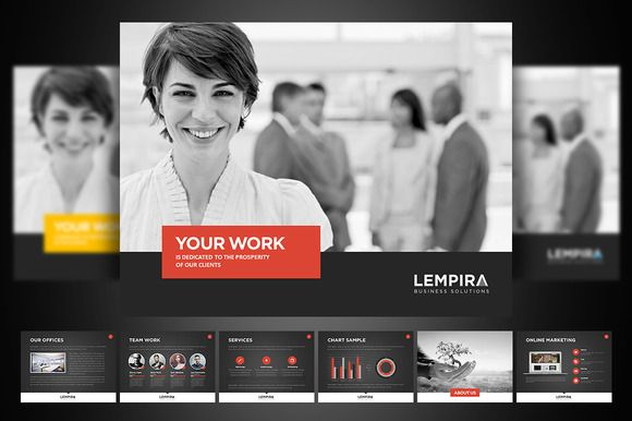 Lempira PowerPoint Presentation ~~ A modern, handcrafted and creative presentation, special for a Agency/Graphic Design Artist/ or any type of business. Easy to change colors, text, photos. Fully editable.View the images to see the rest of the slides.    This pack is available in 3 color opti…