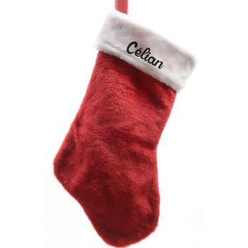 Découvrez cette Chaussette de Noël personnalisée - Merry Christmas sur poupepoupi.com #chaussettedenoël #cadeaudenoël