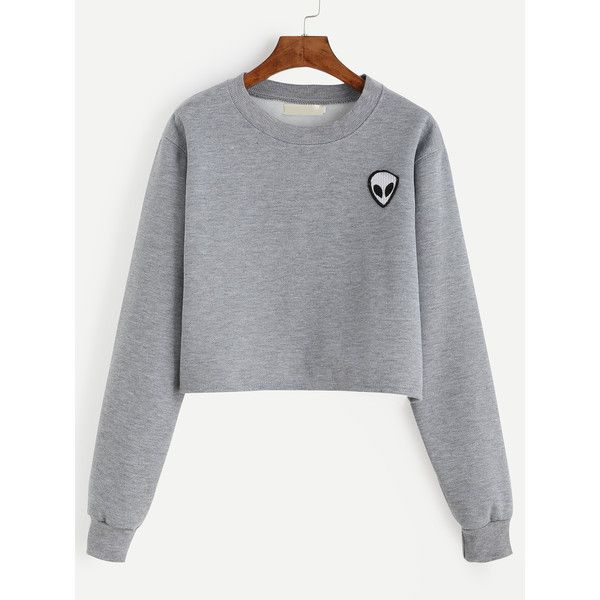 Grey Alien Patch Crop Sweatshirt (€11) ❤ liked on Polyvore featuring tops, hoodies, sweatshirts, sweaters, shirts, crop tops, grey, long sleeve pullover shirts, grey long sleeve shirt and long-sleeve shirt