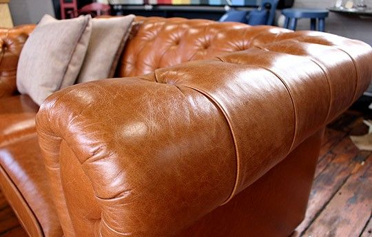 Tan Leather 1 1/2 Seat Chesterfield Sofa - WARINGS Store
