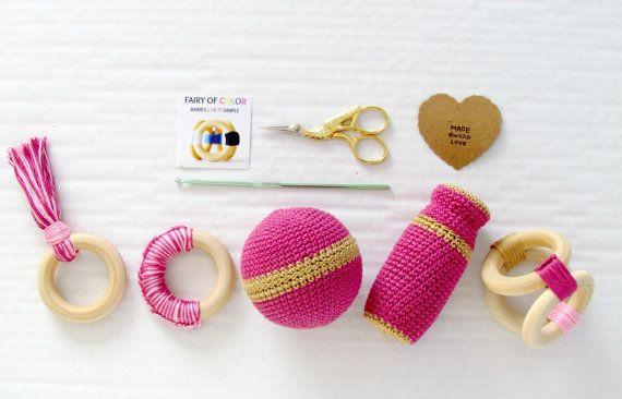 Unique baby girl gift basket, Organic wood teethers , Crochet rattle , Montessori toy