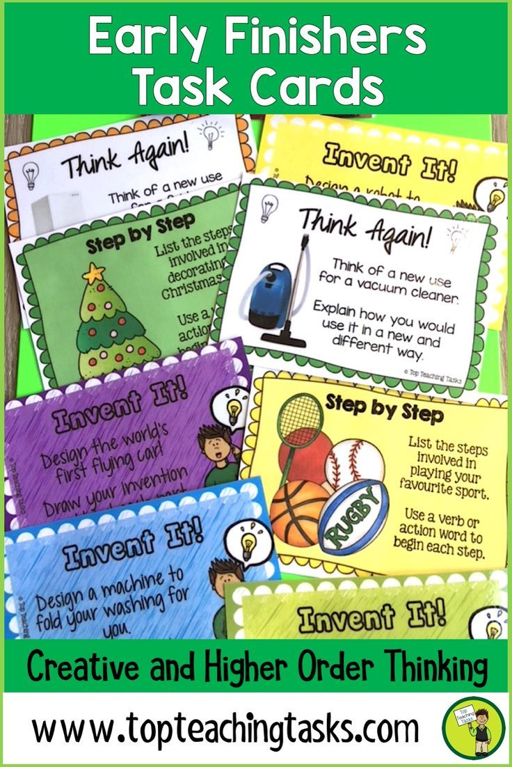 "These Early Finisher Task Cards answer the common classroom question, ""I'm Done. Now What?"" Superb for Back to School! These print and go task cards are great activities build creative thinking, sequencing, persuasive writing and cause and effect skills. These are useful as an enrichment activity, as a bonus reward or bell ringer activity in your grade three, grade four, or grade five classroom. 4th grade early finishers, 5th grade early finishers."