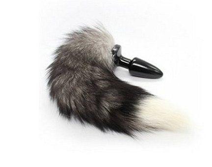 Butt Plug – Silikon Butt Plug (Maximale Durchmesser Ø 30 mm) ,Anal Dildo Buttplug Mit Fuchsschwanz (Aus Kunstfell) (Farbe: schwarz/weiß )