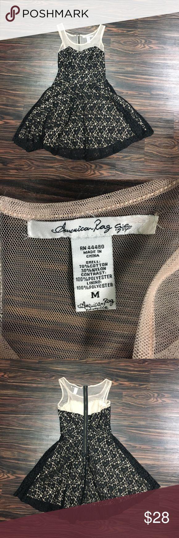 American rag lace dress Beautiful Black illusion lace skater dress by American Rag! American Rag Dresses Mini