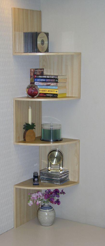 INTERIOR, Corner Shelf Unit: 4d Concepts Wall Mounted Corner Shelving Unit In Maple