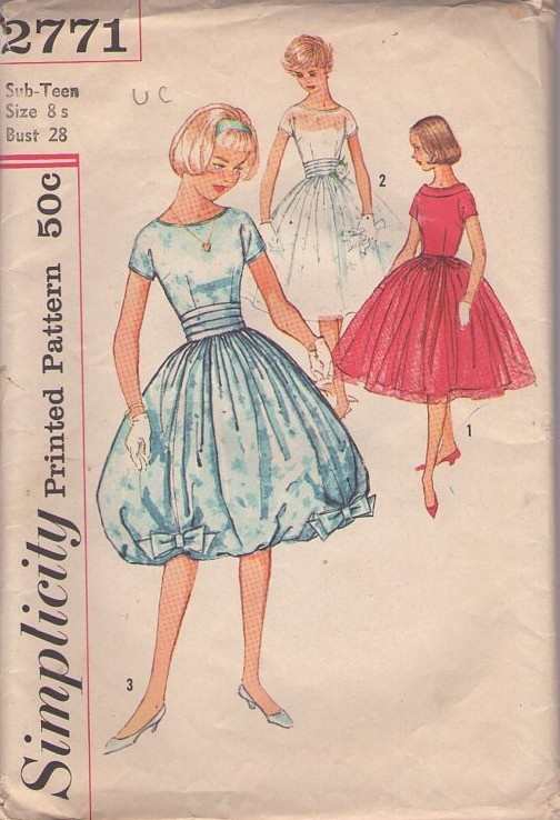 Simplicity 2771 Vintage 50's Sewing Pattern INCREDIBLE Rockabilly Couture Full Flared Chiffon or Bubble Hem Evening Dress, Party Gown, 3 Views #MOMSPatterns: View Momspattern, Patterns Incredible, Vintage Patterns, Sewing Patterns