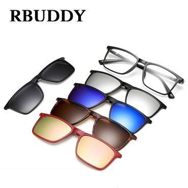 046271c9f9 RBUDDY Magnet Sunglasses Clip Driving Mirrored Clip on Sunglasses Men  square Polarized Clips Myopia clear glasses
