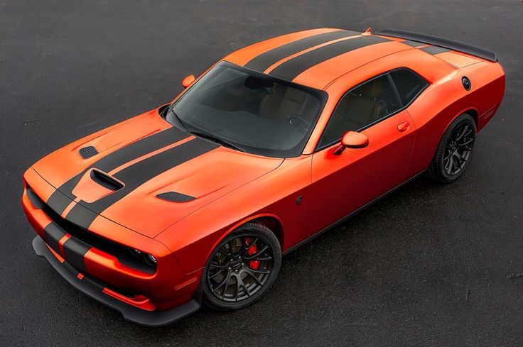 2016 Dodge Challenger Hellcat in HEMI Orange with Black Stripes