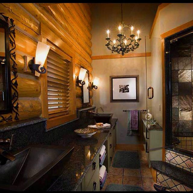 Luxury log cabin homes bathroom dream home ideas for Log cabin bathroom design ideas