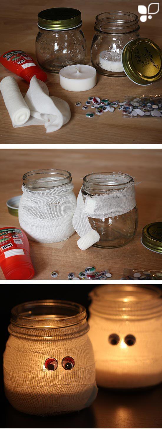 Schnell-DIY-Tipp: Gestalte schaurig schöne Mumien aus einem Einmachglas und etwas Verbandsmaterial. Wenn Du ein Teelicht platzierst, erhälst Du eine tolle Halloween Deko!