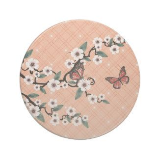 Cherry blossom butterflies peach beverage coaster