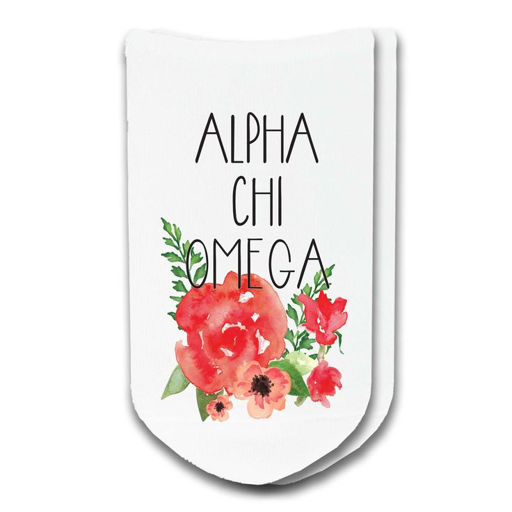 Alpha Chi Omega Sorority Watercolor Floral No-Show Socks