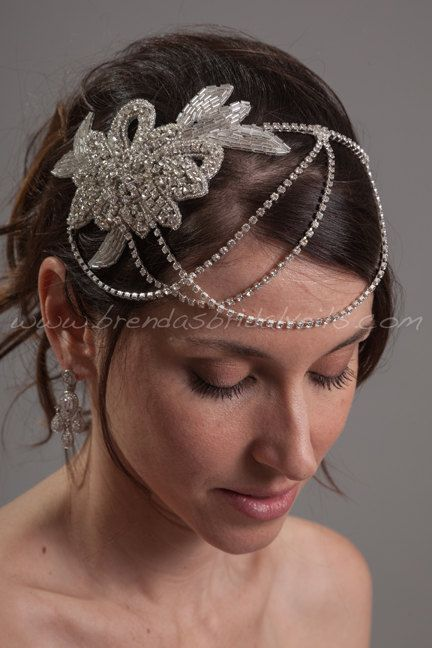Crystal Rhinestone Headband Wedding Headband by brendasbridalveils, $109.95