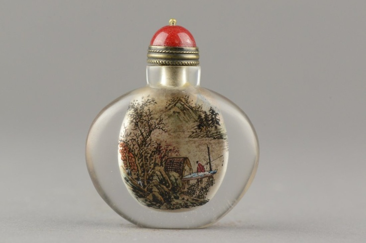 Chinese Glass Painted Snuff Bottle Ye Zhong SanBottle Antiques, Chinese Furniture, January 2013, Glasses, Start Bid C 1800, Asian Work, 2013 Pin, Auction Fin Chinese, Auctioneer 888 Auction