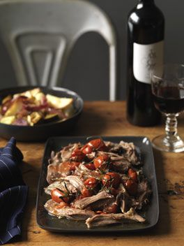 Slow cooked lamb shoulder with roast vegetables. {Primal: replace white potato with sweet potato}