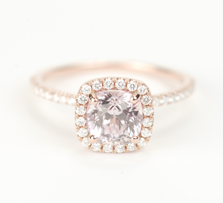 Rose Gold And Peach Sapphire Engagement Ring