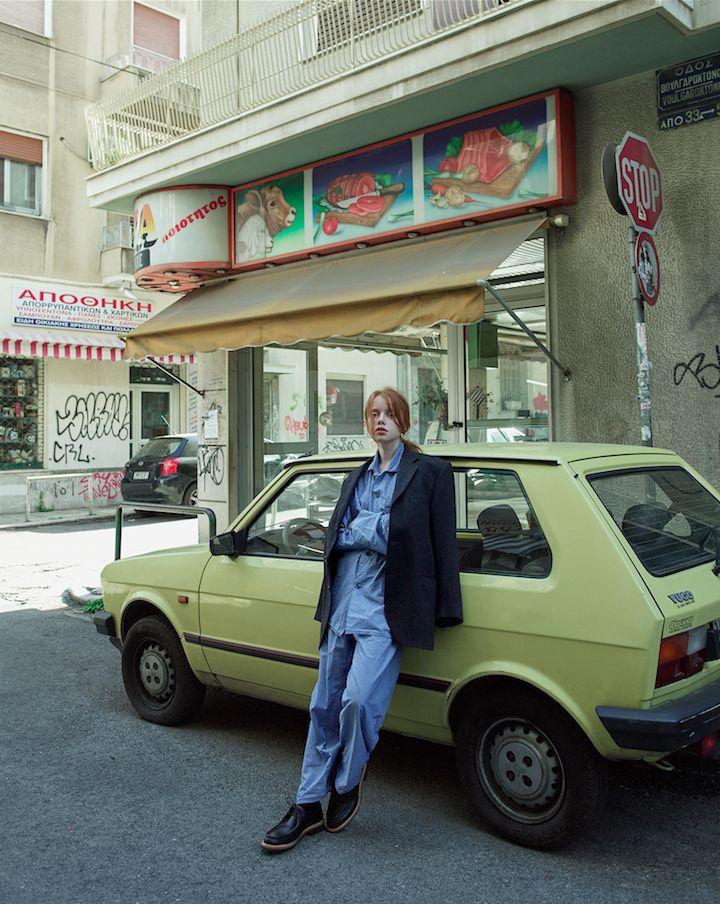 Vasilis Kalegias and Daphne Iliaki shoot on the streets of Athens.