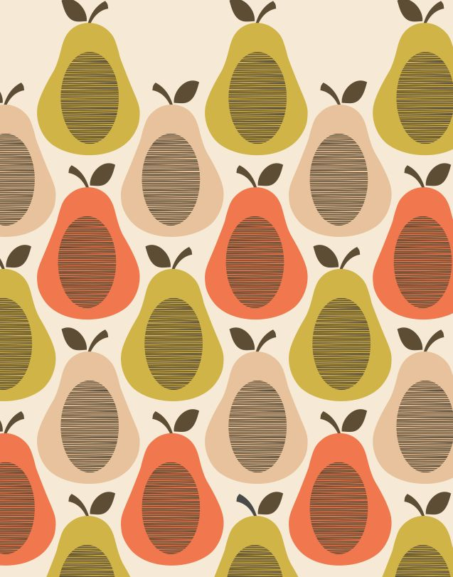 good orla kiely pear with orla kiely papier peint. Black Bedroom Furniture Sets. Home Design Ideas