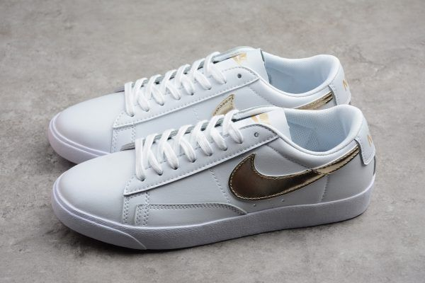 newest eab11 d6751 Nike Blazer Low GS LE White Metallic Gold Star AA3961-103 Shoes-5