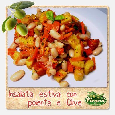 Polenta croccante e olive per un insalata estiva?? Un'idea originale della nostra amica blogger Anyone can cook! Ingredienti: 12 pomodorini ciliegini, 3 carote, 1 scatola di fagioli cannellini, basilico prezzemolo, paprika, aglio in polvere, origano, olio extravergine d'oliva 6 olive dolci siciliane Ficacci, 2 cucchiai di cipolla marinata, 500 ml di acqua, 160 gr di farina di mais integrale.. http://www.ficacci.com/ricette-con-olive.asp?id=527&categoria=10&lingua=IT