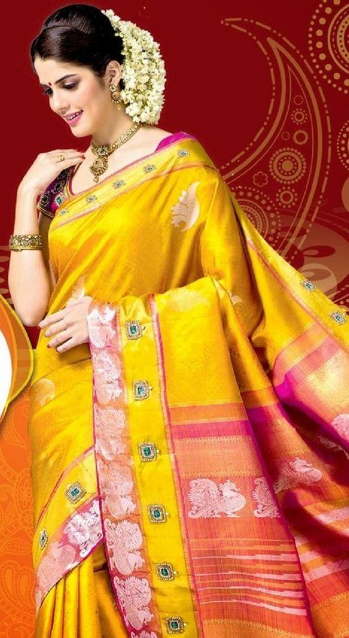 Yellow silk saree with blouse
