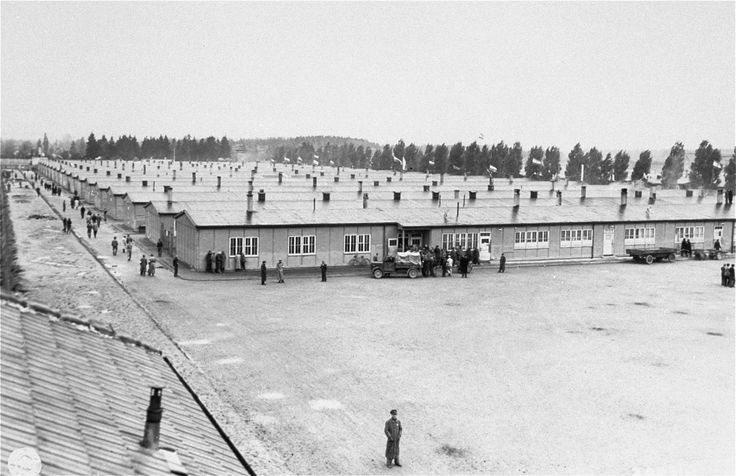 The prisoners' barracks in the Dachau concentration camp (May 3, 1945). Dachau was primarily a facility for high-level political prisoners and the camp included compounds for special prisoners, including those that the Nazis had an interest in detaining but did not treat as common prisoners.