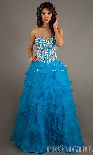 blue long bead embellished strapless sweetheart dress